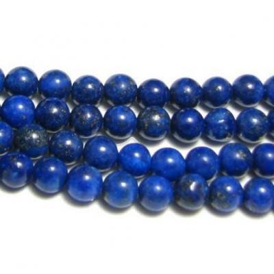 Fil de 60 perles rondes 6mm 6 mm en lapis lazuli lazulis teinte cis