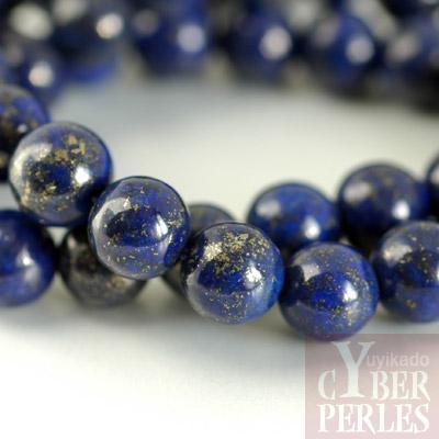 Perle ronde en lapis lazuli 10 mm 130309 193023 cbpw